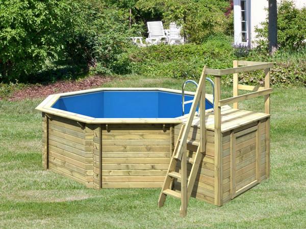 Pool Holzpool Modell 1 Variante B kdi mit 11,30 m³ Volumen mit Sonnenterrasse