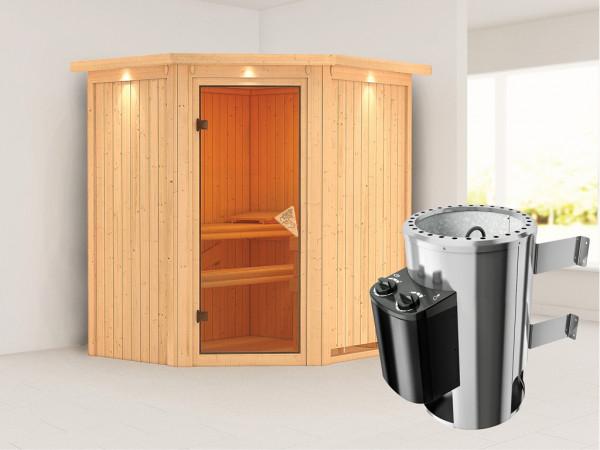 Sauna Systemsauna Tonja mit Dachkranz, inkl. Plug & Play Saunaofen Steuerung