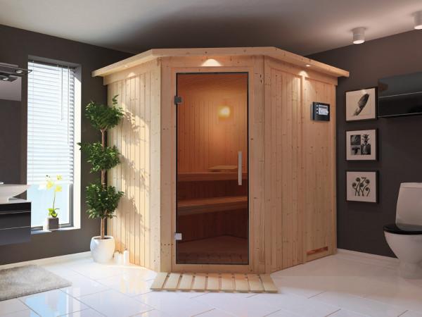 Sauna Systemsauna Lilja mit Dachkranz, graphit Ganzglastür + Plug & Play Bio-Ofen mit ext. Strg