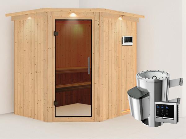 Sauna Systemsauna Lilja mit Dachkranz, graphit Ganzglastür + Plug & Play Saunaofen mit ext. Strg