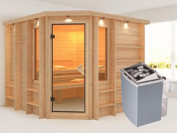 Sauna Massivholzsauna Marona inkl. 9 kW Saunaofen integr. Steuerung