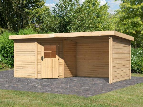 Gartenhaus SET Neuruppin 2 28 mm naturbelassen, inkl. 3,2 m Anbaudach + Seiten- und Rückwand