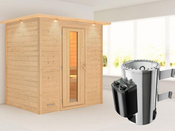 Sauna Massivholzsauna Ronja mit Dachkranz, Energiespartür + Plug & Play Saunaofen mit Steuerung