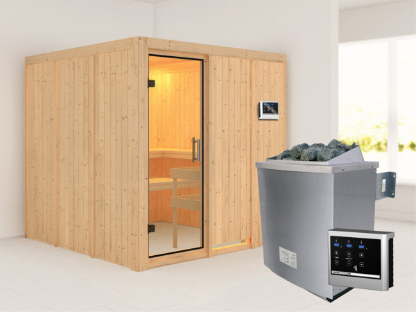 Sauna Systemsauna Rodin Klarglas Ganzglastür + 9 kW Saunaofen mit ext. Strg