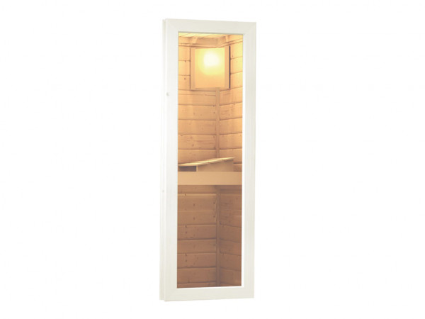 Saunafenster Klarglas elfenbeinweiß