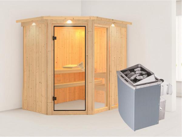 Sauna Systemsauna Fiona 1 mit Dachkranz, inkl. 9 kW Saunaofen integr. Steuerung