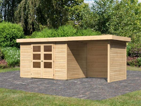Gartenhaus SET Askola 4 19 mm naturbelassen, inkl. 2,4 m Anbaudach + Seiten- und Rückwand