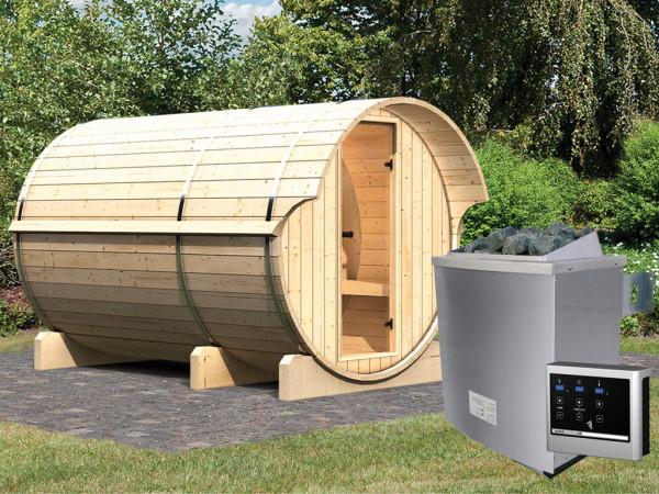 """Saunafass """"Fass-Sauna 3"""" inkl. 9 kW Saunaofen ext. Steuerung"""