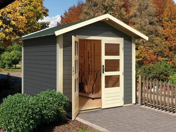 Gartenhaus Tamm 8 28 mm terragrau inkl. Boden
