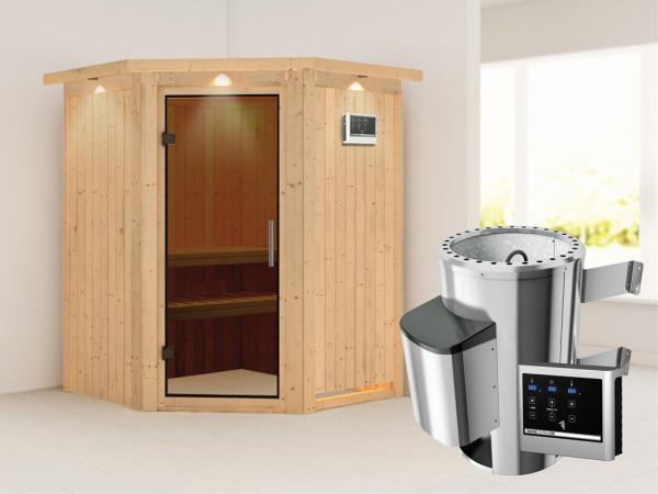 Sauna Systemsauna Nanja mit Dachkranz, graphit Ganzglastür + Plug & Play Saunaofen mit ext. Strg