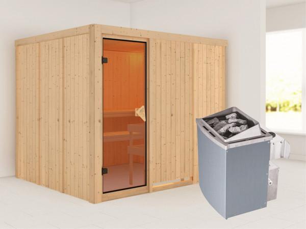 Systemsauna Gobin bronzierte Ganzglastür, inkl. 9 kW Saunaofen integr. Steuerung
