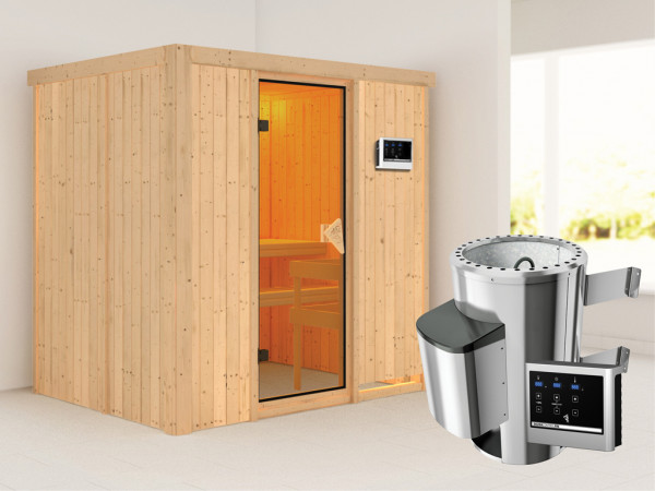 Sauna Systemsauna Fanja inkl. Plug & Play Saunaofen externe Steuerung