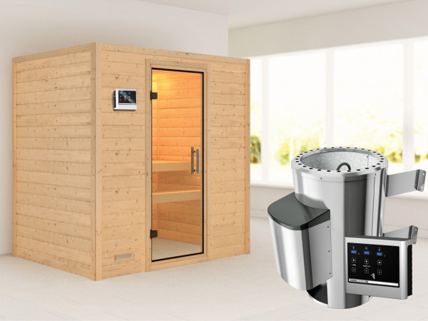 Sauna Massivholzsauna Ronja Klarglas Ganzglastür + Plug & Play Saunaofen mit externer Steuerung