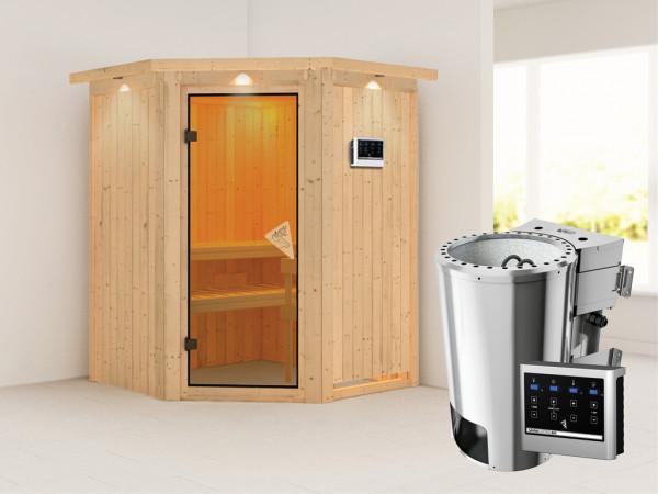 Sauna Systemsauna SPARSET Nanja mit Dachkranz, inkl. Plug & Play Bio-Ofen ext. Strg & Zubehörpaket