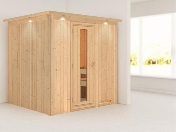 Systemsauna Sodin mit Dachkranz, Holztür mit Isolierglas