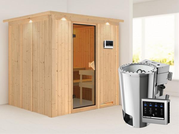 Sauna Systemsauna Daria mit Dachkranz, inkl. Plug & Play Bio-Ofen externe Steuerung