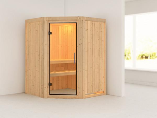 Sauna Systemsauna Larin Klarglas Ganzglastür
