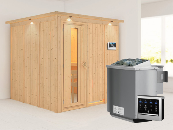 Systemsauna Rodin mit Dachkranz, Holztür mit Isolierglas, inkl. 9 kW Bio-Kombiofen ext. Steuerung