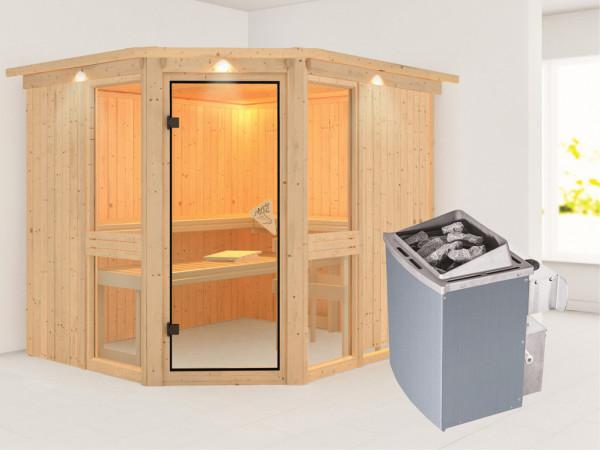 Sauna Systemsauna Amelia 3 mit Dachkranz, inkl. 9 kW Saunaofen integr. Steuerung
