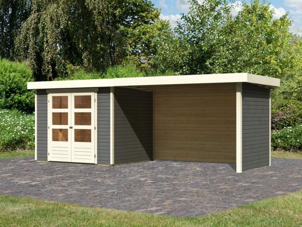 Gartenhaus SET Askola 3 19 mm terragrau, inkl. 2,8 m Anbaudach + Seiten- und Rückwand