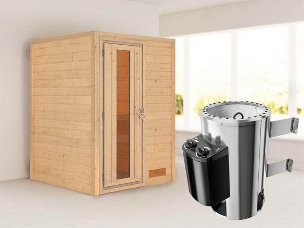 Sauna Massivholzsauna Nadja Energiespartür + Plug & Play Saunaofen mit Steuerung