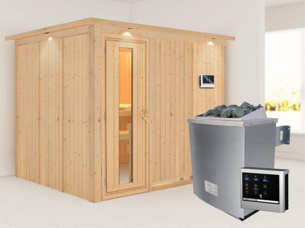 Systemsauna Gobin mit Dachkranz, Holztür mit Isolierglas, inkl. 9 kW Saunaofen ext. Steuerung