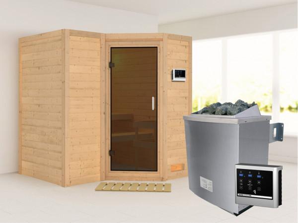 Massivholzsauna Sahib 1 graphit Ganzglastür, inkl. 9 kW Ofen ext. Steuerung