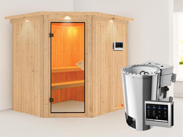 Sauna Systemsauna Lilja mit Dachkranz, inkl. Plug & Play Bio-Ofen externe Steuerung