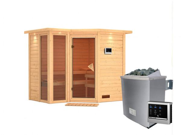 """Sauna Massivholzsauna """"Amara"""" mit Dachkranz inkl. 9 kW Saunaofen ext. Steuerung"""