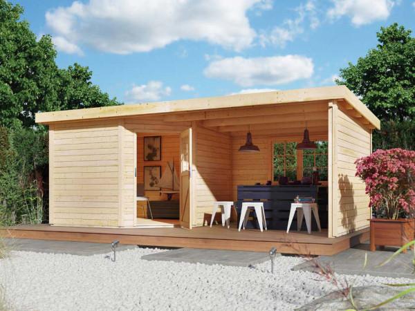 Gartenhaus SET Neuruppin 3 28 mm naturbelassen, inkl. 3,2 m Anbaudach + Seiten- und Rückwand