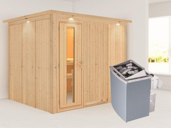 Systemsauna Gobin mit Dachkranz, Holztür mit Isolierglas, inkl. 9 kW Saunaofen integr. Steuerung