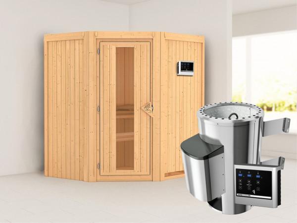Sauna Systemsauna Tonja Energiespartür + Plug & Play Saunaofen mit externer Steuerung