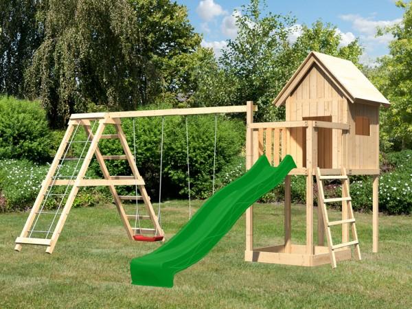 Spielhaus Set Frieda naturbelassen, inkl. Rutsche grün, Schaukel und Klettergerüst