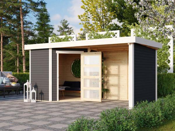 Gartenhaus SET Schwandorf 3 19 mm terragrau, inkl. 2,4 m Anbaudach + Seiten- und Rückwand