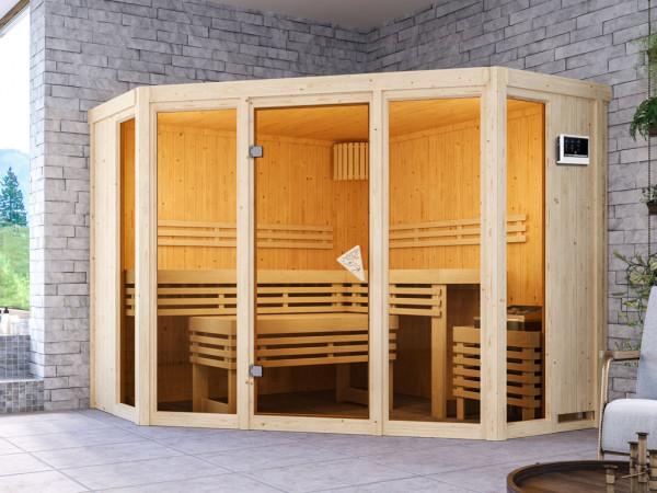 Sauna Alcinda mit bronzierter Glastür + 9 kW Saunaofen ext. Strg.