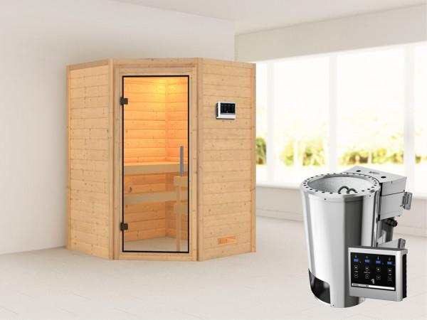 Sauna Massivholzsauna Alicja Klarglas Ganzglastür + Plug & Play Bio-Ofen mit externer Steuerung