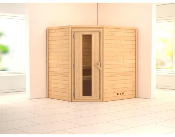 Sauna Massivholzsauna SPARSET PLUS Borgholm inkl. Ofen 9 kW, Holztür mit Isolierglas