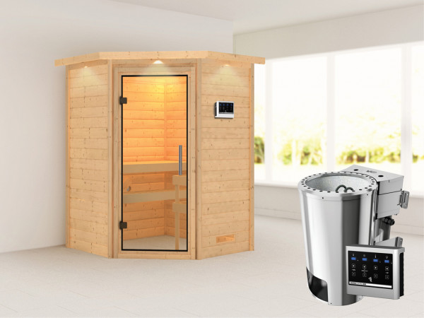 Sauna Massivholzsauna Alicja mit Dachkranz, Klarglas Ganzglastür, Plug & Play Bio-Ofen mit extStrg