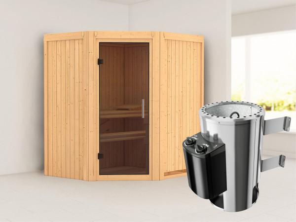 Sauna Systemsauna Tonja graphit Ganzglastür + Plug & Play Saunaofen mit Steuerung