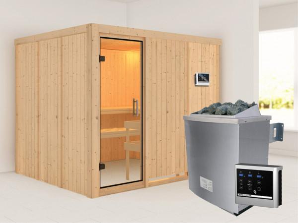 Sauna Systemsauna Gobin Klarglas Ganzglastür + 9 kW Saunaofen mit ext.Strg