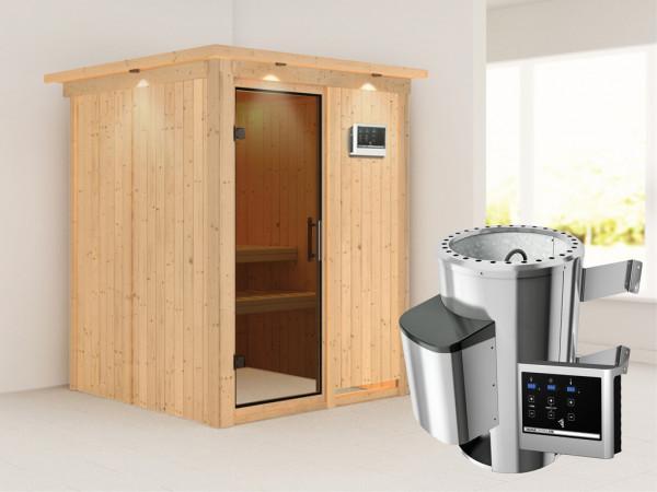 Sauna Systemsauna Minja mit Dachkranz, graphit Ganzglastür + Plug & Play Saunaofen mit ext. Strg