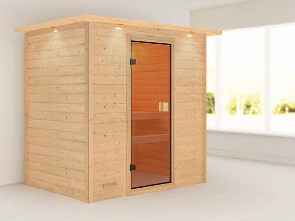 "Sauna Massivholzsauna ""Ronja"" mit Dachkranz"