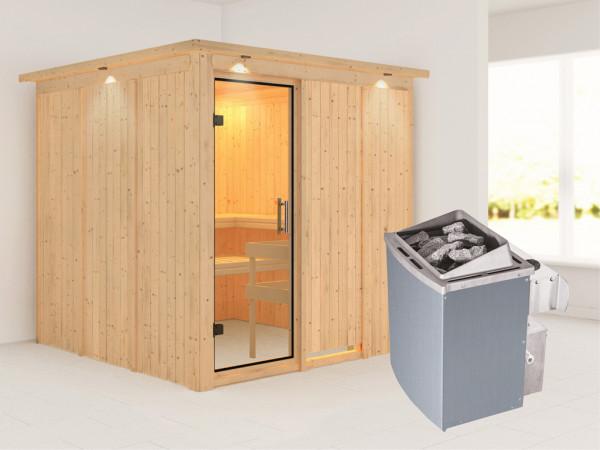 Sauna Systemsauna Rodin mit Dachkranz, Klarglas Ganzglastür + 9 kW Saunaofen mit Steuerung