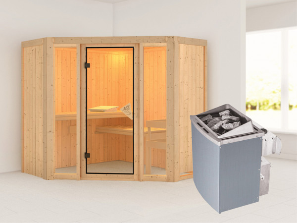 Sauna Systemsauna Flora 1 inkl. 9 kW Saunaofen integr. Steuerung