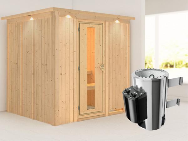 Sauna Systemsauna Daria mit Dachkranz, Energiespartür + Plug & Play Saunaofen mit Steuerung