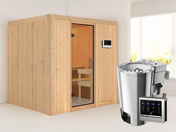 Sauna Systemsauna Daria Klarglas Ganzglastür + Plug & Play Bio-Ofen mit externer Steuerung