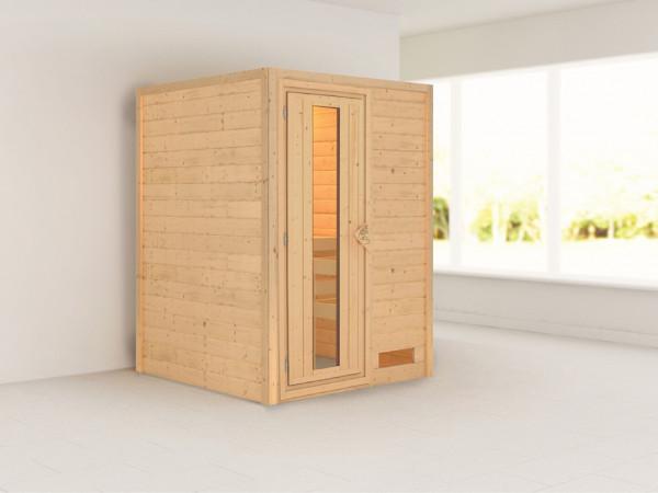 Sauna Massivholzsauna Nadja Energiespartür