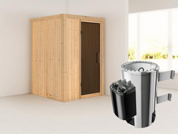 Sauna Systemsauna Lenja graphit Ganzglastür + Plug & Play Saunaofen mit Steuerung
