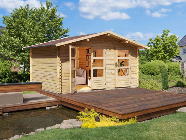 Gartenhaus Blockbohlenhaus Radur 1 ECO 28 mm naturbelassen