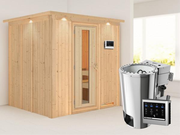 Sauna Systemsauna Daria mit Dachkranz, Energiespartür, Plug & Play Bio-Ofen mit externer Steuerung